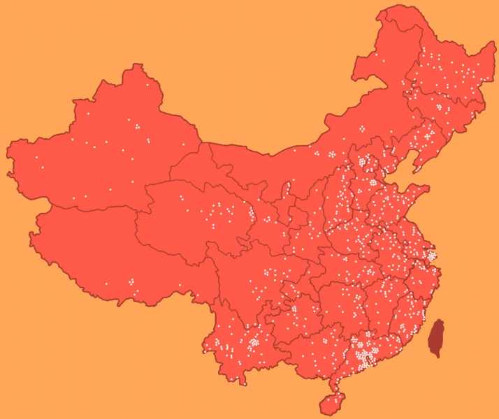 Map indicating the location of known Laogai System facilities