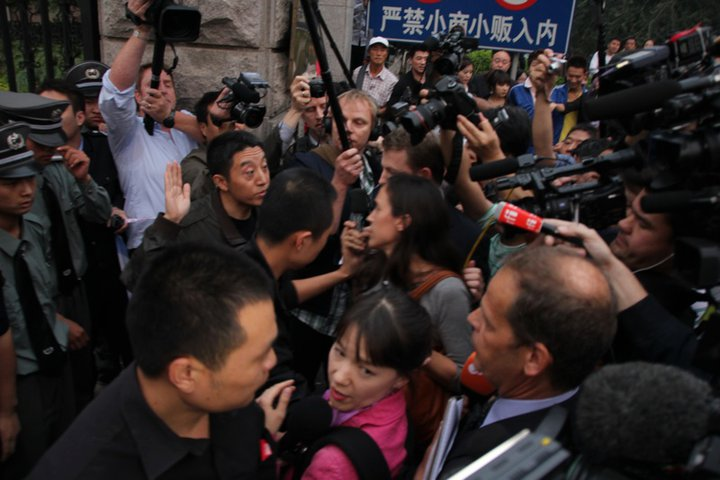 Police vs. Journalists Outside Liu Xiaobo's Home